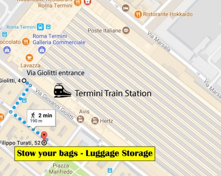 Stow your bags - Left-luggage nearby | ROME | Via Turati 52 | Termini Train Station